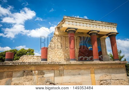 Knossos palace, Crete island, Greece. Detail of ancient ruins of famous Minoan palace of Knossos.