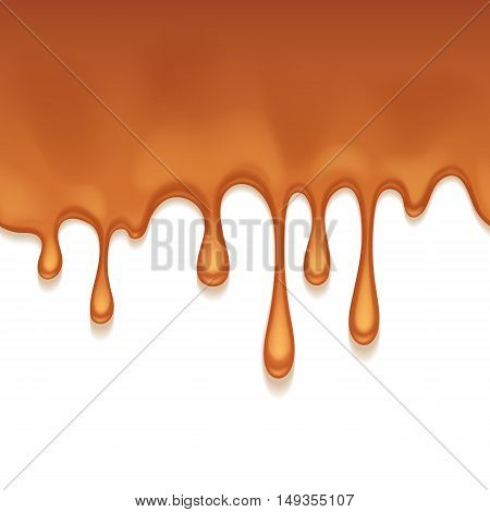 Caramel sweet drips flowing. Seamless horizontal background. Vector illustration.