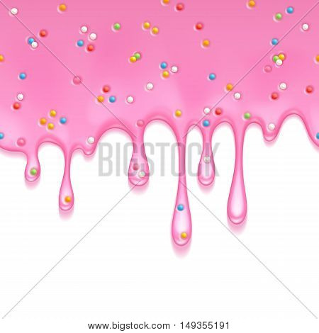 Donut glaze. Pink frosting with colorful sprinkles dripping seamless horizontal border. Liquid flow. Vector illustration. Sweet background.