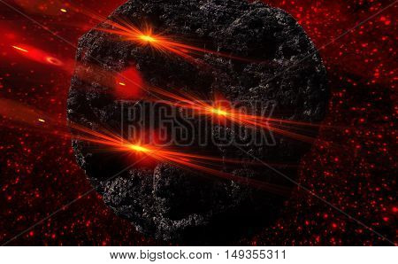 Large asteroid flying in the universe. 3D illustration.