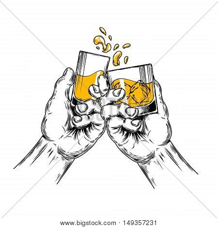 Vector illustration of two hands raised stemware with alcohol in a toast