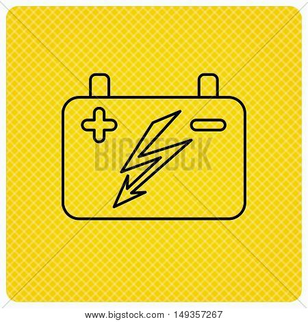 Accumulator icon. Electrical battery sign. Linear icon on orange background. Vector