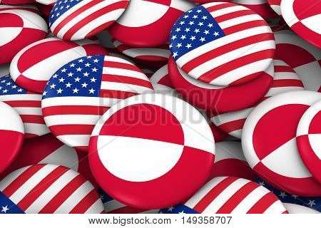 Usa And Greenland Badges Background - Pile Of American And Greenlandic Flag Buttons 3D Illustration