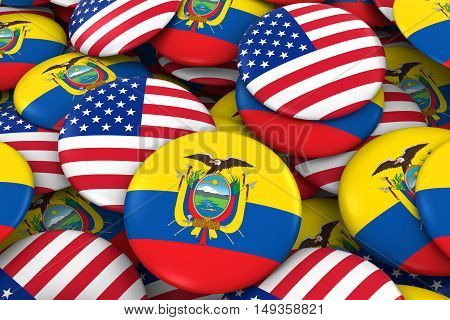 Usa And Ecuador Badges Background - Pile Of American And Ecuadorian Flag Buttons 3D Illustration
