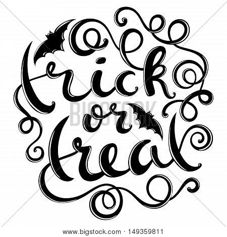 Trick or treat, hand-drawn halloween lettering, vector illustration