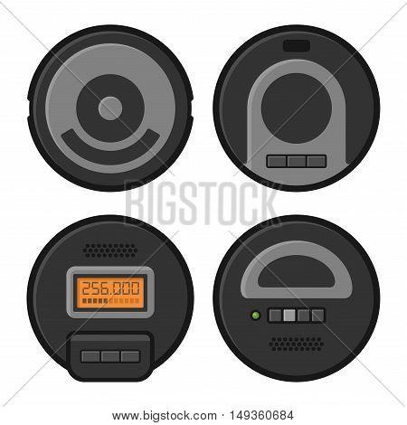 Robotic Vacuum Cleaner Icons Set. Vector illustration