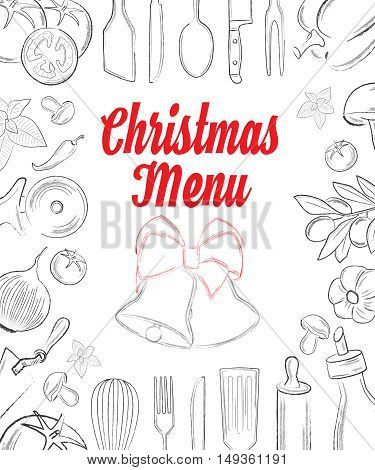 Christas menu front page with hand drawn elements on white background vector illustration