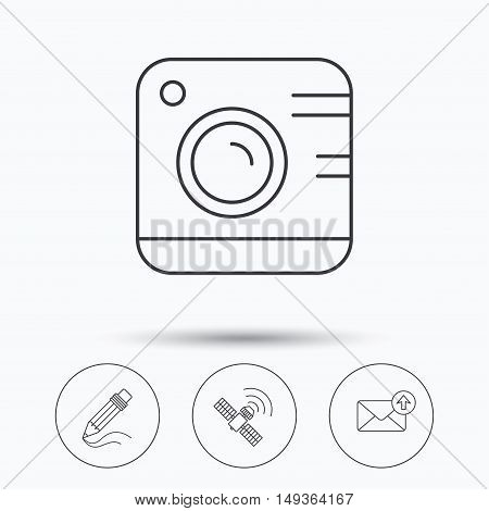 Photo camera, mail and gps satellite icons. Pencil linear sign. Linear icons in circle buttons. Flat web symbols. Vector