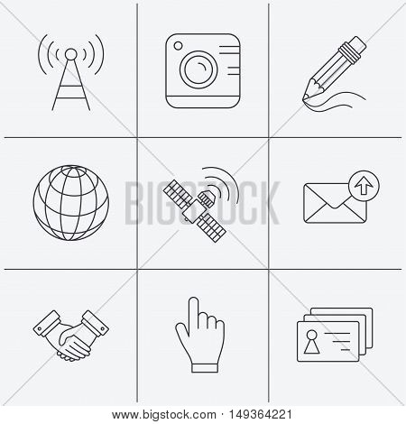 Handshake, contacts and gps satellite icons. Pencil, photo camera and mail linear signs. Telecommunication station flat line icons. Linear icons on white background. Vector