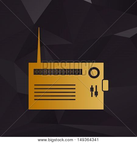 Radio Sign Illustration. Golden Style On Background With Polygons.