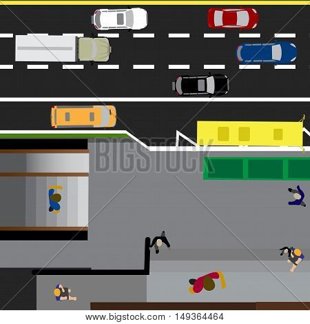 Plot road, highway, street, with the store. Underground crossing. Crossroads. Bus stop. With different cars. Top view of the highway. Vector illustration