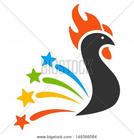 Salute Rooster icon. Glyph style is flat iconic symbol on a white background.