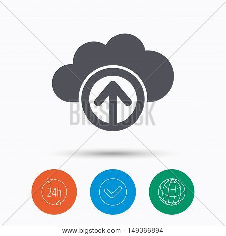 Upload from cloud icon. Data storage technology symbol. Check tick, 24 hours service and internet globe. Linear icons on white background. Vector
