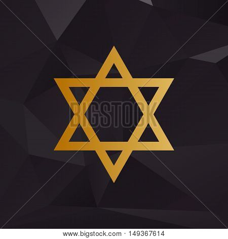 Shield Magen David Star. Symbol Of Israel. Golden Style On Background With Polygons.