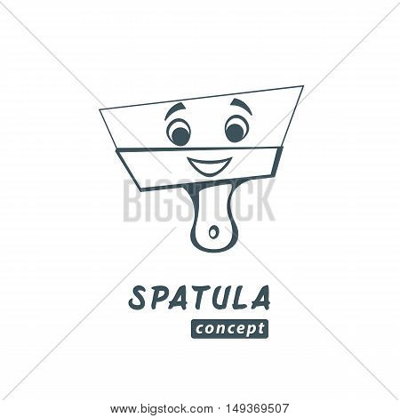 Spatula vector cartoon isolated on white. Repairs of apartments logo concept. Smiling putty knife.