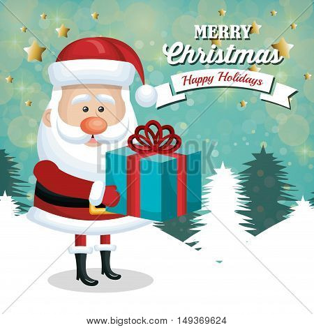 card santa claus holding gift white landscape christmas vector illustration