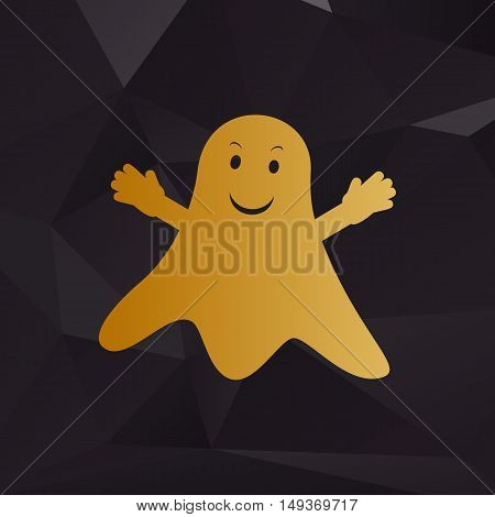 Ghost Isolated Sign. Golden Style On Background With Polygons.