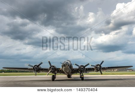 American World War 2 Bomber preparing for take off