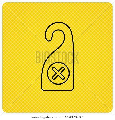 Do not disturb icon. Sleep door hanger sign. Hotel maid service symbol. Linear icon on orange background. Vector