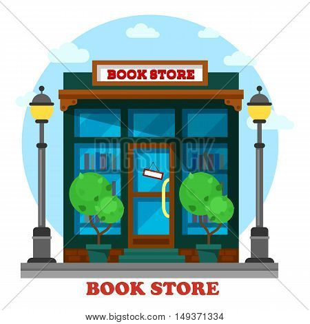 Book store or shop for paper reading outdoor view. Bookstore or bookshop with paper catalog shelf or bookshelf. May be used for education or geek, literature or knowledge, learning and pedagogic theme