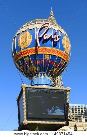 LAS VEGAS - DEC 25: Paris Las Vegas is a luxury resort and casino on Las Vegas Strip on Dec. 25, 2016 in Las Vegas, Nevada, USA. The hotel has Paris theme including Eiffel Tower and the Louvre.