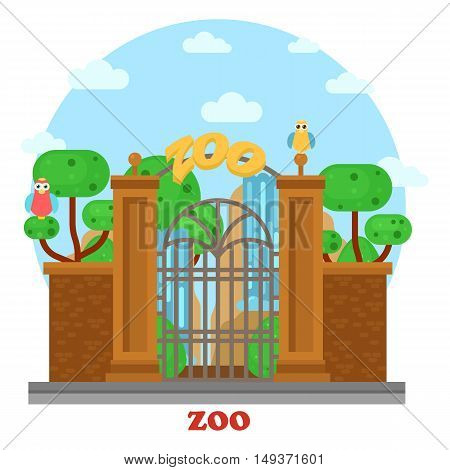 Zoo entrance exterior outdoor street side of view with waterfall and parrots on tree. Building near road for visiting wild animals and wildlife mammals in cages. Urban place for leisure and recreation