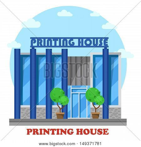 Printing house or typography shop or store. Structure exterior view for sale or trading press and newspaper, book or magazine. Good for printing service logotype or banner, architecture theme