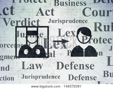 Law concept: Painted black Criminal Freed icon on Digital Data Paper background with  Tag Cloud