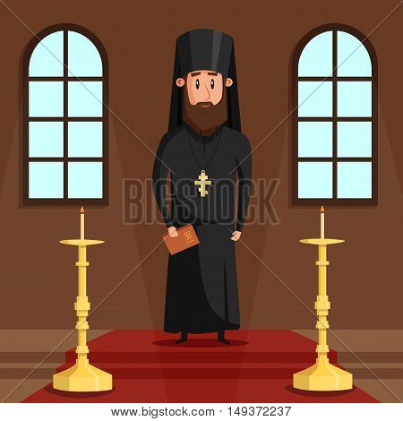 Orthodox christian priest or bishop with beard and cross. Eastern greek presbyter at church hall or chapel with candles where religious people faith in God or Jesus. Can be used for spiritual theme