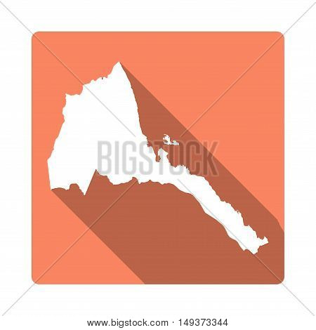 Vector Eritrea Map Button. Long Shadow Style Eritrea Map Square Icon Isolated On White Background. F