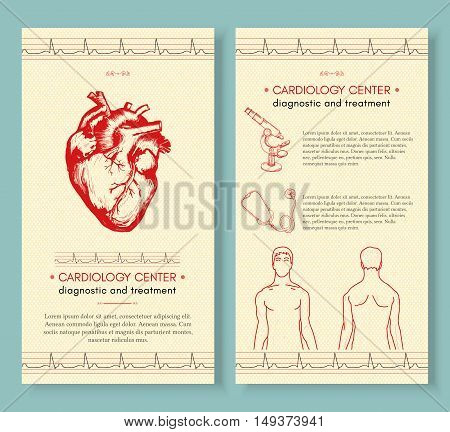 Cardiology medical cover design template Human heart medical symbol of cardiology logo cardiology center vector