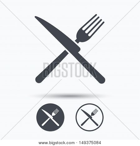 Fork and knife icons. Cutlery symbol. Circle buttons with flat web icon on white background. Vector