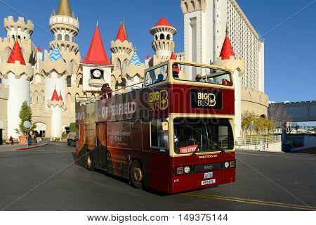 LAS VEGAS - DEC 24: Big Bus Tours in front of Excalibur Castle on Dec. 24, 2016 in Las Vegas, Nevada, USA.