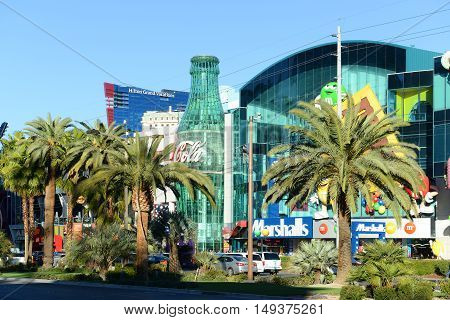 LAS VEGAS - DEC 24: Showcase Mall facade with 100-foot Coca-Cola bottle on Las Vegas Strip on Dec. 24, 2016 in Las Vegas, Nevada, USA.