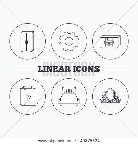 Double bed, vintage mirror and cupboard icons. Chest of drawers linear sign. Flat cogwheel and calendar symbols. Linear icons in circle buttons. Vector