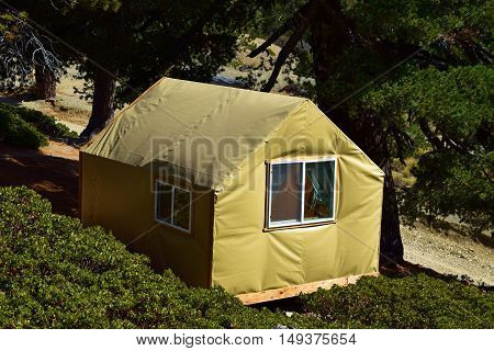 Contemporary tent cabin with a rustic vibe where people can enjoy a comfortable camping experience taken at a forest in Mt Baldy, CA