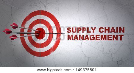 Success advertising concept: arrows hitting the center of target, Red Supply Chain Management on wall background, 3D rendering