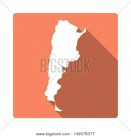 Vector Argentina Map Button. Long Shadow Style Argentina Map Square Icon Isolated On White Backgroun