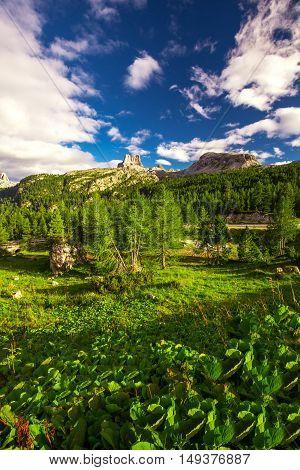View to Dolomites mountains from Pordoi Pass mountain road Italy Europe