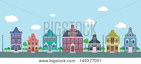 Colorful facades of the old houses on a city street cartoon Stock vector illustration