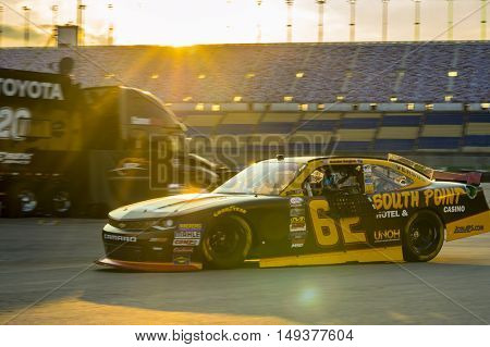 Sparta, KY - Sep 23, 2016: Brendan Gaughan drives the #62 South Point Chevy onto the track  during the VisitMyrtleBeach.com 300 weekend at the Kentucky Speedway in Sparta, KY.