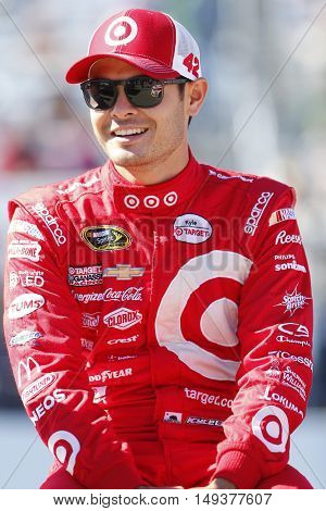 Loudon, NH - Sep 25, 2016: Kyle Larson (42) gets ready for the Bad Boy Off Road 300 at the New Hampshire Motor Speedway in Loudon, NH.