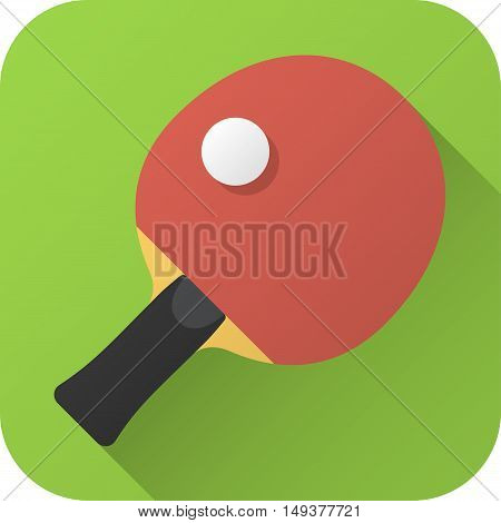 Vector illustration. Toy racket Ping-Pong table in flat design with long shadow. Square shape icon in simple design. Icon vector size 1024 corner radius 180