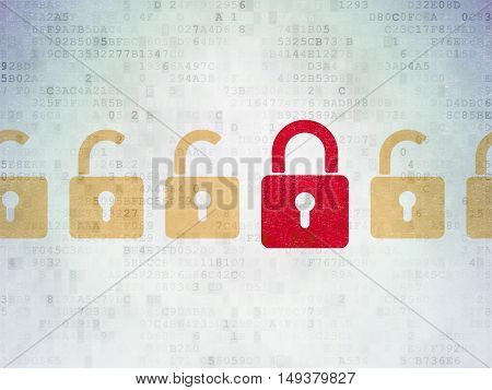 Security concept: row of Painted yellow opened padlock icons around red closed padlock icon on Digital Data Paper background