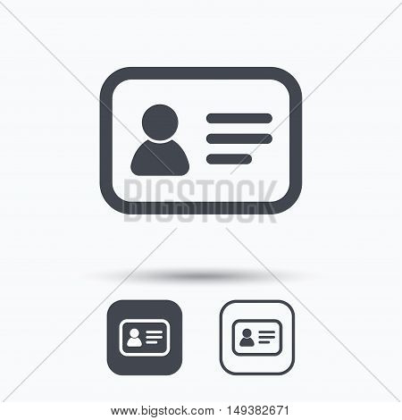 ID card icon. Personal identification document symbol. Square buttons with flat web icon on white background. Vector