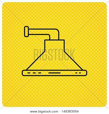 Kitchen hood icon. Kitchenware equipment sign. Linear icon on orange background. Vector