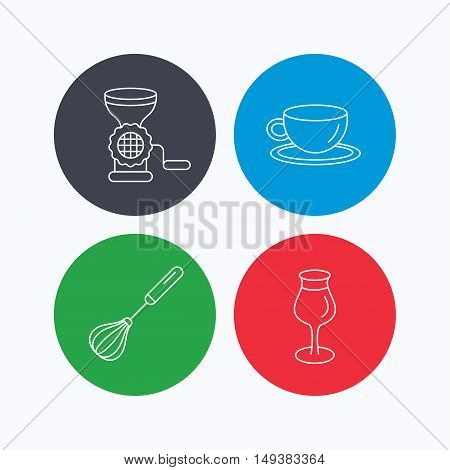 Coffee cup, whisk and wineglass icons. Meat grinder linear sign. Linear icons on colored buttons. Flat web symbols. Vector
