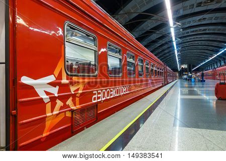 Moscow, Russia - September 19: Passengers board the train Aeroexpress at Vnukovo station