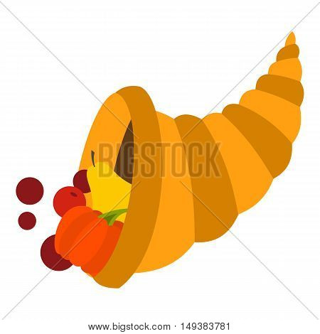 Cornucopia icon in flat style isolated on white background. Prosperity symbol vector illustration