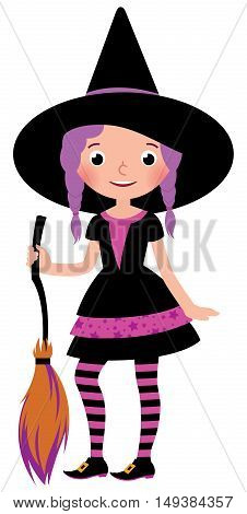 Girl in costume Halloween witch with a broom in his hand Stock vector illustration